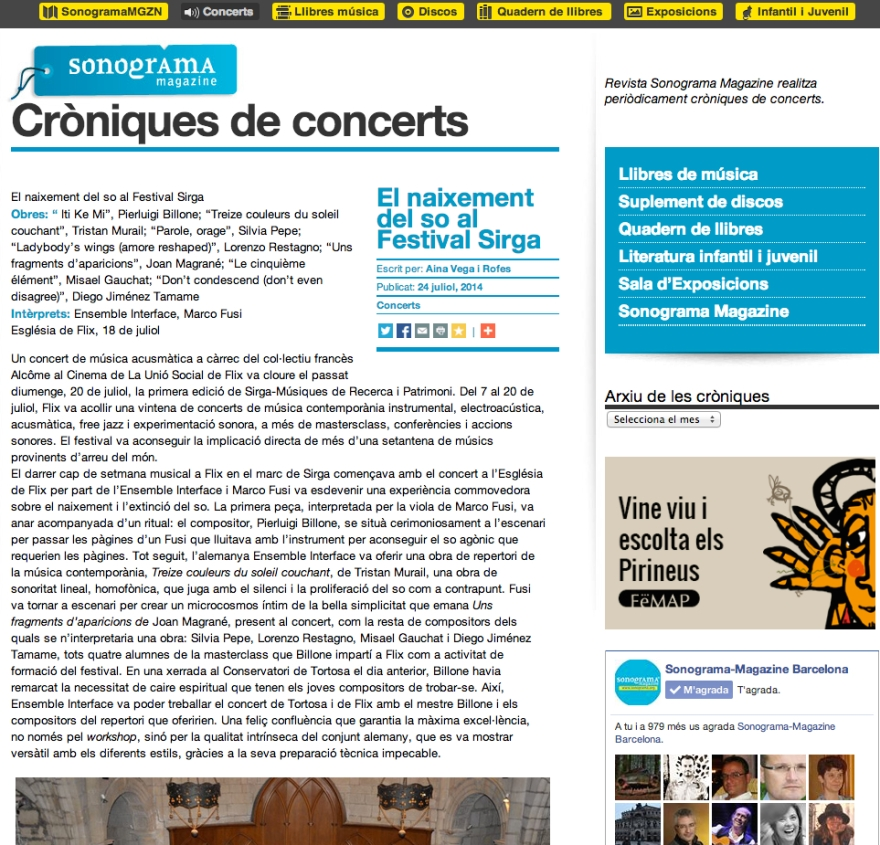 Concert review @ Sonograma Magazine