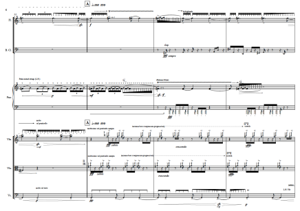 """About blood pulse and misty minds (10'30"""") for Meitar Ensemble. Flute (Piccolo), Clarinet in Bb (Bass Clarinet in Bb), Piano, Violin, Viola and Violoncello. 2013."""