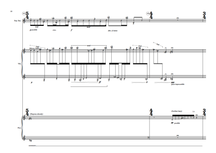 Expansive Movements (9') for Trio de Magia. Soprano Saxophone, Percussion and Piano. 2013