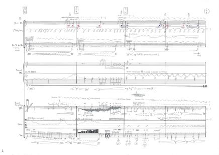 Vértigo (6') for Ensemble Multilatérale. Bass Flute, Bass Clarinet in Bb, Harp, Violin and Violoncello. 2016